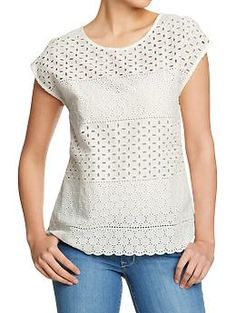 Women's Mixed-Eyelet Dolman Tops | Old Navy. coupon code save 20% limited time only: ONSAVENOW