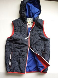Nautica men size s windbreaker vest newport fash full zip with hood
