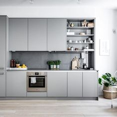 The kitchen set's inspiration is more beautiful and more beautiful is the order - Kitchen Decor Grey Kitchen Interior, Grey Kitchens, Modern Kitchen Design, Home Kitchens, Modern Grey Kitchen, Loft Kitchen, Kitchen Sets, New Kitchen, Kitchen Decor