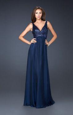 La Femme 17514 Navy V Neck Sequin Long Prom Dress