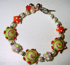 Swirls and Pearls Lampwork Bracelet with Sterling by judesjujus, $65.00