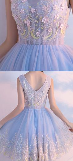 Beaded/Beading Homecoming Dresses, Light Blue A-line/Princess Homecoming Dresses, Short Light Blue Homecoming Dresses, Beautiful Homecoming Dress V-neck Appliques Tulle Short Prom Dress Party Dress Light Blue Homecoming Dresses, Light Blue Dresses, A Line Prom Dresses, Beautiful Prom Dresses, Day Dresses, Pretty Dresses, Short Dresses, Dress Prom, Cheap Dresses
