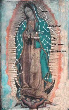 Las estrellas en el manto de la Virgen de Guadalupe. Lado izquierdo.  Estudio de Juan Homero Hernández Illescas.