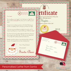 "Personalised letter from Santa! Including ""Official Nice List"" certificate and addressed envelope tag to your little ones this Christmas! By Busy Little Bugs"