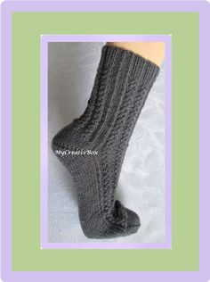 "Sockenmuster ""Wegrand"" - Pdf - Gr.: 32-43 Pdf, Socks, Knitting Socks, Tejidos, Knit Socks, Tutorials, Hand Crafts, Dressing Up, Sock"