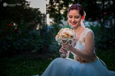 Wedding Bouquet of flowers and cordon lace veil beads