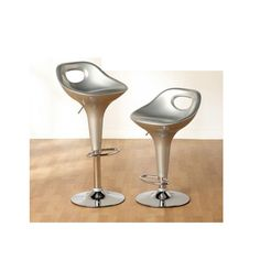 Miami Bar Chairs In Silver With Chrome Base in A Pair