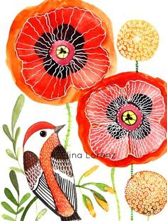 wall art, nursery decor, original paintings, acrylic paintings, watercolor paintings, illustration, bird art, home decor