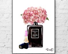 Etsy の Chanel Perfume Art Print Mademoiselle by ColorfulArtstudio