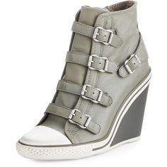 Ash Thelma Cap-Toe Wedge Sneaker ($159) ❤ liked on Polyvore featuring shoes, sneakers, grey, gray wedge shoes, leather shoes, grey wedge sneakers, ash sneakers and wedged sneakers