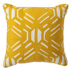10 Best Throw Pillows Under $50 - #5  Room Essentials Yellow Patterned Decorative Throw Pillow #rankandstyle