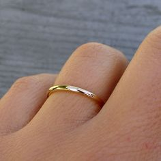 Petite Recycled 14k Yellow Gold Wedding Band or Skinny Stackable Ring $248.00, via Etsy.