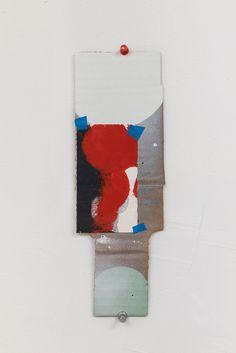 "George Negroponte. Straggler. 2016. Latex and enamel on cardboard. 10 1/2"" x 3 1/2"". #anitarogersgallery #georgenegroponte #abstractart #contemporary #art"