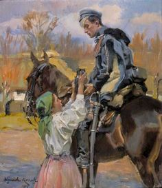 """""""Uhlan and a Girl"""", oil on panel, 53 x cm, private collection Civil War Art, Red Army, Traditional Paintings, Art Themes, Equine Art, Military Art, Les Oeuvres, Art Inspo, Art History"""