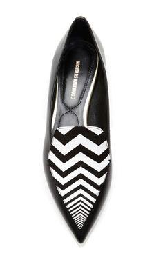 Chevron Striped Leather Loafers by Nicholas Kirkwood - Moda Operandi
