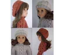 Grace knit aran sweater and hat set free pattern for american girl dolls