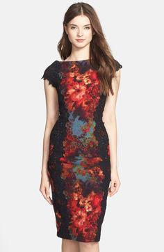 Lace Applique Floral Print Sheath Dress