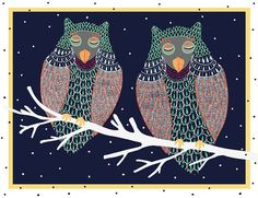 Two Sleeping Owls  Digital illustration by ALittleDrawing