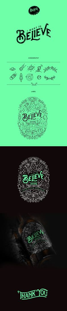 """Design for """"I Want to Believe"""" Beer."""
