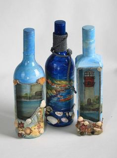 decoupage, botellas: