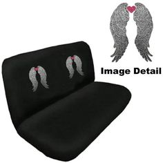 Heavenly Angel Wings w Pink Heart Gem Crystal Studded Rhinestone Bling Car Truck SUV Rear Bench Seat Cover >>> Click on the image for additional details.Note:It is affiliate link to Amazon.