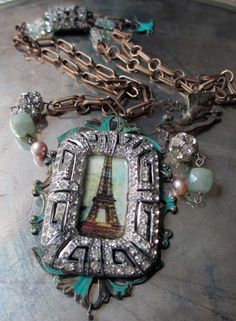 'parisian skies' vintage assemblage necklace with Art Deco Eiffel Tower pendant by The French Circus, $135.00