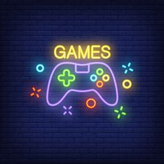 Console with games lettering. neon sign on brick background. Ps Wallpaper, Photos Hd, Image Digital, Neon Logo, Neon Aesthetic, Game Background, Gaming Wallpapers, Lettering, Neon Lighting