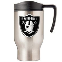 The Oakland Raiders Stainless Steel Thermal Mug keeps coffee hot for hours, a fantastic thermal mug for Raiders fans.
