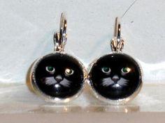 Ohrringe Katze grüne Augen Modeschmuck Damen Hänger Ohrschmuck Glas Neuware