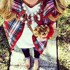 Plaid vest, white sweater, dark skinnies, Tory Burch flats