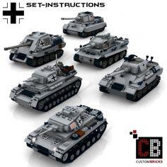 Custom WW2 German Tank Set 1 - Tiger, Königstiger, Panther, Jagdpanther, PzKpfw 3&4