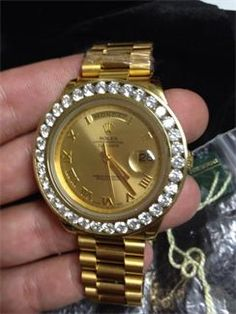 BIG FACE ROLEX DAY DATE 2 IRREGAL WITH CUSTOM LAB MADE DIAMOND CHANNEL SET BEZEL,DAY DATE 2,BLUE FLAME DIAMONDS CUSTOM TIMEPIECES