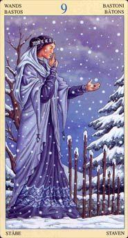 Tarot Card The 9 of Wands   From The Universal Goddess Tarot Deck