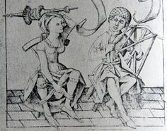I'm not even sure I want to know what these two are up to with that distaff. but here's proof positive that medieval women did not run around without knickers. Those are most definitely underwear she's holding up with her right hand.