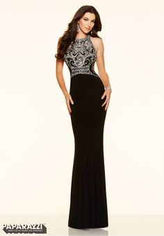 Prom dresses by Paparazzi Prom Jeweled Beading on Jersey Zipper Back Closure. Colors Available: White, Black