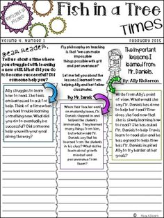 Fish in a Tree is a great way to teach your students about Growth Mindset! This activity is formatted in an attractive newspaper format that prompts students to write from the perspectives of the characters!  Great for a Fish in a Tree Novel Study! This activity is a great way to write creatively using text evidence! Fish in a Tree is by Linda Mullaly Hunt. Created by 1teach2learn
