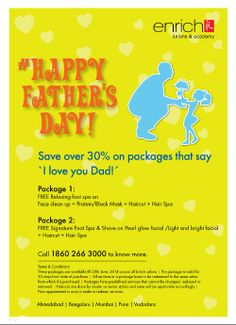 Father's Day is coming soon and so Enrich Salons offers the perfect way for loving children to gift their fathers on #Father's Day this year!  Know more:http://bit.ly/1ouMoHG .