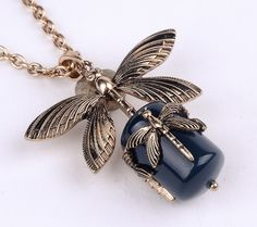 The Bronze Dragonfly with a Black Stone