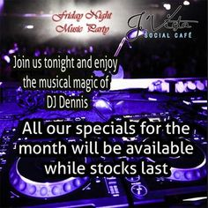 Kick off those walking shoes and put on your party pumps, it's Friday and time to party at Je'Vista Social Café Jeffrey's Bay. DJ Dennis will take us into the night with great music while you enjoy the host of specials on offer at our bar. Alcohol not served to persons under 18, Drink responsibly. #partytime #Weekendfun Music Party, Weekend Fun, Walking Shoes, Live Music, Party Time, Musicals, Dj, Alcohol, Friday