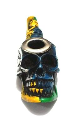 Brazil Flag Color Snake & Skull Tobacco Smoking Pipe Small Bowl w/ Metal Lip