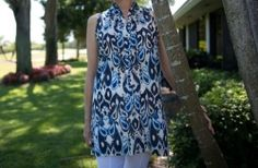 Sleeveless cotton tunic. Chic and vibrant top with a button front. Easy to wear over white pants or as a cute run around summer dress and coverup.  http://www.lizabyrd.com/product/1376/Ladies/Cotton+Tunics+and+Tops/The+Lindy+Top+in+Blue+Ikaat