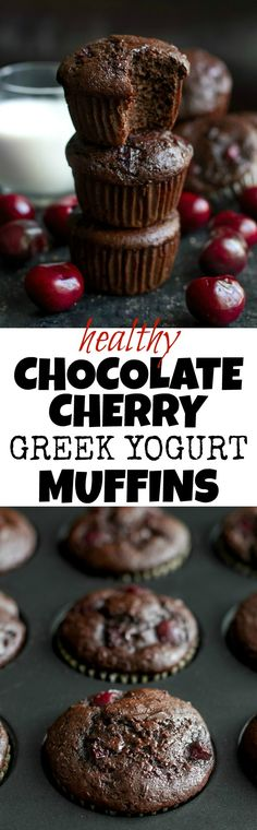 These healthy Chocolate Cherry Greek Yogurt Muffins are so delicious that you'd never guess they're naturally sweetened and made without any butter or oil! Mini Cherry Pies, Homemade Cherry Pies, Muffin Recipes, Baking Recipes, Dessert Recipes, Breakfast Recipes, Chocolate Cherry, Healthy Chocolate, Sweet Cherry Recipes