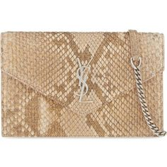SAINT LAURENT Monogram metallic python envelope clutch ($1,800) ❤ liked on Polyvore featuring bags, handbags, clutches, rose gold snake, rose gold purse, envelope clutch, metallic purse, snakeskin handbags and metallic envelope clutch