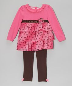 Kids Headquarters Fuchsia Bow Tunic & Leggings - Infant, Toddler & Girls by Kids Headquarters #zulily #zulilyfinds