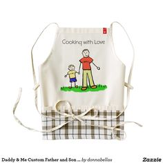 """Blond Daddy & Me Custom Father and Son Family Art Custom Aprons - Daddy and me family features a father and son holding hands. The man's shirt reads """"daddy"""" and the boy's shirt reads """"me"""". The father and son family characters art picture comes in multiple ethnic family options, as well as a plain no color drawing."""