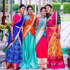 Planning to shop silk half sarees? Here are 20 colorful half saree designs and how to style it with utmost elegance. Half Saree Lehenga, Kids Lehenga, Saree Look, Saree Dress, Lehenga Blouse, Anarkali, Dress Skirt, Half Saree Designs, Sari Blouse Designs