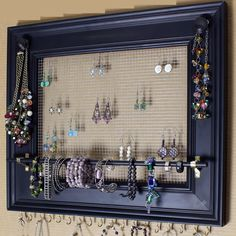 """Jewelry Organizer Display Rack Holder Picture Frame- 19""""x16""""- Extra Large by HedcraftFineArt on Etsy https://www.etsy.com/listing/164222370/jewelry-organizer-display-rack-holder"""