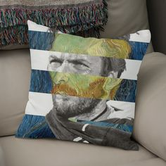 Discover «Van Gogh's Self Portrait and Clint Eastwood», Exclusive Edition Throw Pillow by Luigi Tarini - From $29.5 - Curioos