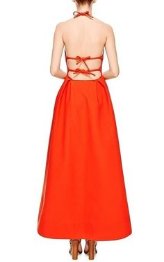 Moustache Cotton Halter Gown by ROSIE ASSOULIN Now Available on Moda Operandi