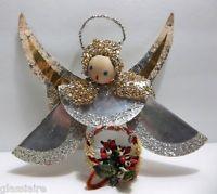 Vintage German ANGEL Christmas Tree Ornament Wood FOIL Paper Wings CHENILLE